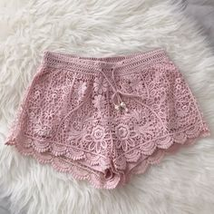 H&M crochet shorts H&M conscious collection. Beautiful blush pink crochet design. Perfect for the summer time! Worn once. H&M Shorts