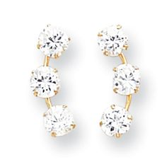 14k Gold Curved 3-Stone CZ Post Earrings - Measures 15x6mm. Fine jewelry is authenticated with manufacturer metal stamp. Unconditional 45 day Full Money Back Guarantee and Two Year Free Repair Policy. Comes with a beautiful jewelry gift box ready for any gift giving occasion. Polished ; Post Earrings ; CZ ; Prong set.