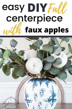 Head over to the blog to learn how to make this easy and beautiful apple centerpiece for your Thanksgiving table. Traditional fall decor doesn't always have to mean pumpkins and a splash of orange. This gorgeous neutral centerpiece is perfect for any room. #thanksgivingdinnertabledecorations #thanksgivingtablecenterpieces #holidaydecorationsthanksgiving #appledecorations #spraypaintdiydecor #whitespraypaint