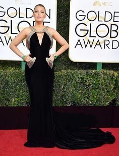 Blake Lively Dress: Atelier Versace Red Carpet Dresses, Satin Dresses, Prom Dresses, Golden Globes 2017 Dresses, Blake Lively Dress, Glamouröse Outfits, Fashion Looks, Celebrity Dresses, Red Carpet Fashion