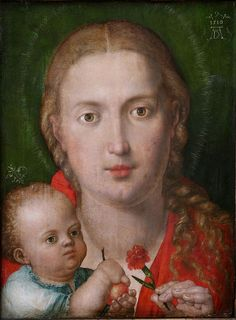 DURER, Albrecht German Northern Renaissance Painter and Engraver Madonna of the Carnation 1516 Albrecht Durer, La Madone, Renaissance Artists, Renaissance Paintings, Web Gallery, Madonna And Child, Italian Artist, Blessed Mother, Religious Art