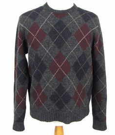 Polo Ralph Lauren Sweater Large 100% Wool Argyle Diamond Knit Crewneck Pullover #PoloRalphLauren #Crewneck