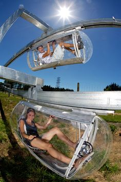 "The Shweeb – World's First Human Powered Monorail Racetrack, Rotorua - Say ""Shweeb!"""