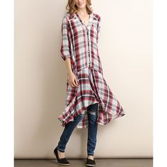 Tassels N Lace Red Plaid Button-Front Dress ($22) ❤ liked on Polyvore featuring dresses, long pink dress, cotton dress, short front long back dresses, high low dresses and red high low dress