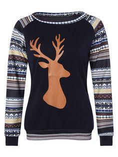 98ac68b077ad Christmas Raglan Sleeve Stripe Elk T-Shirt