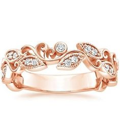 Hawaiian Wedding Ring Swirling ribbons of precious metal and bezel-set round diamonds encircle the finger in this mesmerizing ring. Delicate milgrain accentuates leaf-shaped settings for a nature-inspired effect total carat weight). Rose Gold Diamond Ring, Diamond Wedding Rings, Diamond Bands, Sparkling Diamond, Wedding Bands, Gold Wedding, Gold Gold, Bling Bling, Alternative Engagement Rings
