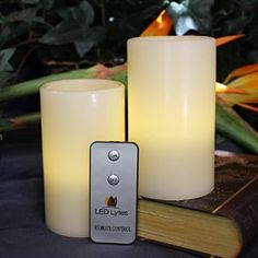 LED Lytes Real Wax Battery Operated Flameless Pillar Candles And On/Off Remote ~ Set Of 2 – 3 Inches x 5 Inches ~ Ivory Colored Wax With A Soft Pale Yellow Flame ~ Weddings, Parties, Mother's Day Flameless Candles, Votive Candles, Fiber Optic Christmas Tree, Church Candles, Thing 1, Just Because Gifts, Candle Set, Halloween Themes, Christmas Holidays