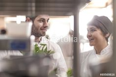 Male and female chef with fresh ingredients in restaurant kitchen Restaurant Kitchen, Chef Jackets, Fresh, Female, Pictures