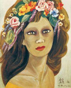 (Korea) A Woman with florals 1981 by Chun Kyung-ja. Korea. 천경자