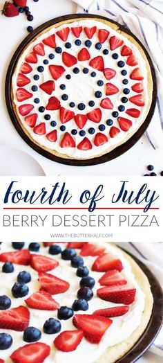 I love this Fourth of July Berry Dessert Pizza made by The Butter Half featured on The Crafted Sparrow! You can never go wrong with a pretty red, white, and blue dessert on the (Easy Diy Treats) Patriotic Desserts, Blue Desserts, 4th Of July Desserts, Fourth Of July Food, Holiday Desserts, Holiday Baking, Holiday Recipes, July 4th, Fourth Of July Recipes
