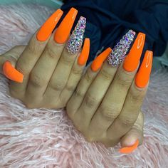 What Christmas manicure to choose for a festive mood - My Nails Orange Acrylic Nails, Best Acrylic Nails, Orange Nails, Acrylic Nail Designs, Purple Nail, Ongles Bling Bling, Rhinestone Nails, Bling Nails, Aycrlic Nails
