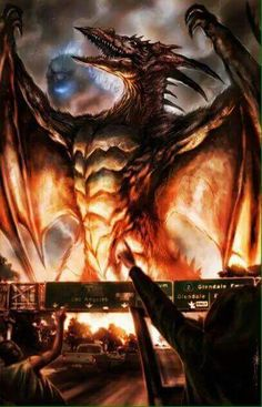 Rodan in all his glory. -- And it looks like Big G about to roast his ass.(this awesome picture though)