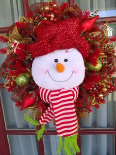 Christmas Red and White Snowman Deco Mesh Wreath by CrazyboutDeco, $89.00