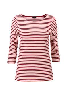 Rood gestreepte top met driekwart mouwen en een ronde hals. Het item heeft splitjes bij de mouwen. Het is een aansluitend model gemaakt van soepele stretch kwaliteit. Valt op de heupen.