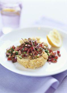 Kichererbsenpüree mit Salat -| http://eatsmarter.de/rezepte/kichererbsenpueree-mit-salat