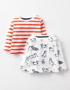 Twin Pack T-shirts- sunrise stripe/ecru farm dogs, size 3-4 yrs