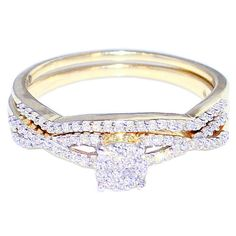1/4cttw Diamond Bridal Set Wedding Rings 10K Yellow Gold (I/j Color 0.25cttw). Item Type: wedding-ring-sets Gem Type: white-diamond, Metal type: 10K yellow-gold. Fine Jewelry Collection by MidwestJewellery. Jewelry Box is included with the purchase, ships within 24 hours wight signature confirmation. Fine Wedding Rings. Rings Available in Size 7 standard.