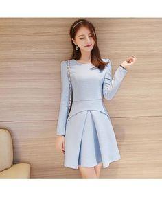 Blue long sleeved T-shirt dress