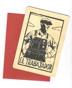 Laborer Linocut on Wood by CornflowerPress on Etsy, $15.00