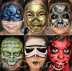 Are you new to face painting? Welcome to a fun adventure that provides a little bit of simple joy to everyone! Even people who don't want to have their own faces painted get a kick out of seeing the artwork on the faces of those who Face Painting Images, Face Painting For Boys, Face Painting Designs, Painting Patterns, Star Wars Halloween, Halloween Make Up, Anniversaire Star Wars, Star Wars Painting, Halloween Karneval