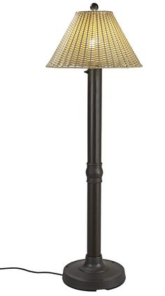 Tahiti II Floor Lamp 19207 with bronze tube body and tight weave, flat wicker, stone shade. All-weather full woven pattern, using flat PVC wicker highlights this shade, which completes the acrylic light globe in this elegant outdoor lamp. Wicker Floor Lamp, Outdoor Floor Lamps, Outdoor Flooring, Summer Deco, Granite Colors, String Lights Outdoor, Light Installation, Globe Lights, Tahiti