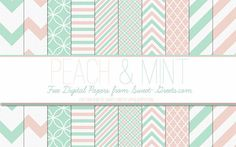 Mint-and-Peach-Digital-Papers-Package