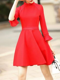 Solid Crew Neck Frill Sleeve Casual Mini Dress