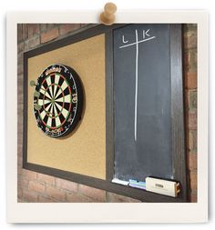 Here is a custom board we just built for a customer who was tired of throwing darts at their wall...we built this with extra thick cork and a chalkboard section on the right for keeping track of points.