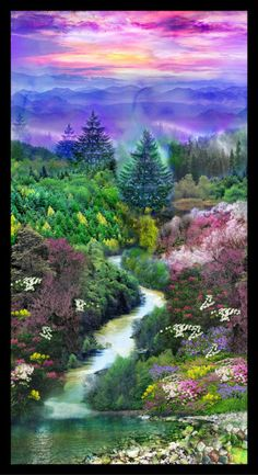 """Mountain View Panel 24"""" x 44"""" ~Cotton Fabric, Quilt, by Fabri-Quilt"""