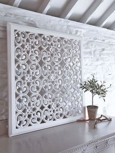 These beautiful large white carved wooden wall panels are perfect to add pattern and texture to your home.