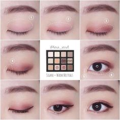 29 Trendy Makeup Tutorial Asian Eyes Make Up Korean Makeup Look, Korean Makeup Tips, Asian Eye Makeup, Korean Makeup Tutorials, Korean Makeup Tutorial Natural, Asian Eyeshadow, Eyeshadow Tutorials, Korean Beauty, Monolid Eyes