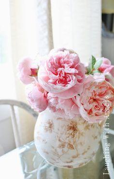 peonies in a vintage vase - momentulzer