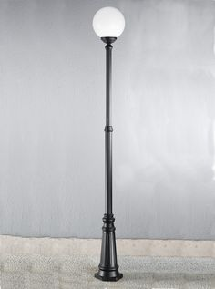 EXT6594 Rotondo Italian large lamp post, black aluminium Italian die-cast aluminium matt black exterior fitting with opal polycarbonate spheres. Height- 2510mm Diameter- 350mm BRAND- Franklite REFERENCE- EXT6594 DISPATCH- 1-2 Days (subject to availiability)
