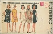 An unused original ca. 1960's Butterick Pattern 5086.  Misses' One-Piece Dress. Semi-fitted A-line dress with jewel neckline and short sleeves has front seam variations: darted front; princess seamed front, with or without contrast; low-waisted front with pleats; and high-waisted front. Purchased scarf.