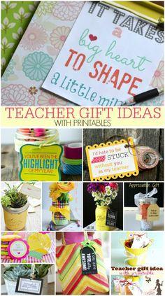TEACHER GIFT IDEAS WITH PRINTABLES -