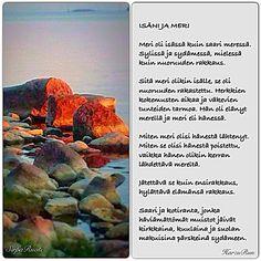 Runo meren saaressa syntyneestä ja eläneestä miehestä, jonka oli sodan vuoksi jätettävä kotisaari lopullisesti, Kuva Sirpa Ruoti ja teksti Harzu Run