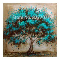 Pintado a mano árbol decorativo flor roja pintura al óleo abstracta moderna de la lona Wall Art Living Room Decor imagen