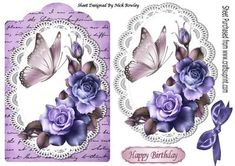 summer purple roses on lace with script bow butterfly on Craftsuprint - Add To Basket!