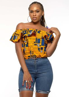 Dunni African Print Off the Shoulder Ruffle Top (Yellow/Blue)