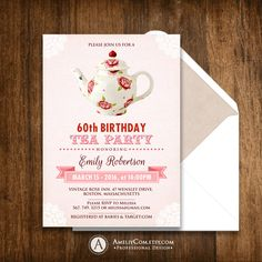 Adult Birthday Tea Party Invitations Printable Personalized Invite DIY INSTANT DOWNLOAD Pink & Teaport Shabby Chic - Rustic Rose, Any Ages