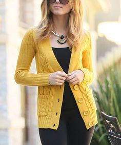 Another great find on #zulily! 42POPS Mustard Cable Knit Big-Button Cardigan by 42POPS #zulilyfinds