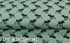 """Stoffe gemustert - Bio-Jersey """"Bambi"""" by Stenzo - mint - ein Designerstück von DerBuntspecht bei DaWanda"""