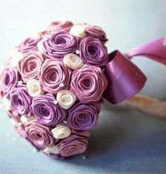 Mauve ribbon rose wedding bouquet <3