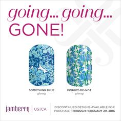 Something Blue Glossy, Forget-Me-Not Glossy, are retiring on February 29th at 11:59pm MT Jamminmartha.jamberry.com
