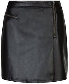 Black leather-Look Side Zip Skirt on shopstyle.co.uk