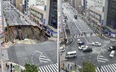 Japanci već zakrpili rupu : Zanimljivosti - Rupa koja se pre nekoliko dana otvorila u gradu Fukuoka i progutala deo ulice, već je popravljena.