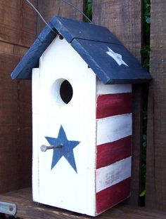 Shabby Chic Rustic Patriotic Birdhouse by okawvalleybirdhouses