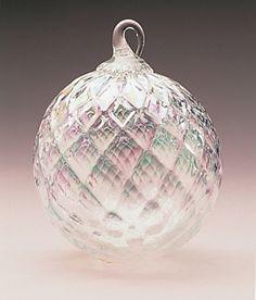 Mt. St. Helens Volcanic Ash Hand Blown Art Glass Ornament - Clear Diamond Facet - 3'' diameter - Pacific Northwest Shop