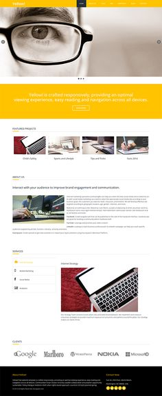 Yellow! is a free responsive HTML5 website template built using Twitter Bootstrap 3. The template follows a clean, eye catching and minimal approach to showcase contents.