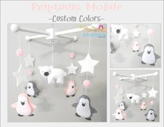Baby Crib Mobile-Penguins Mobile-Polar Bear Mobile-Artic/Antartic Crib Mobile-custom Made Mobile via Etsy